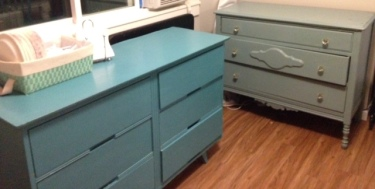 These were the old dressers from my dad's shed that I chalk painted! I put hospitality supplies and homeschooling stuff in them.